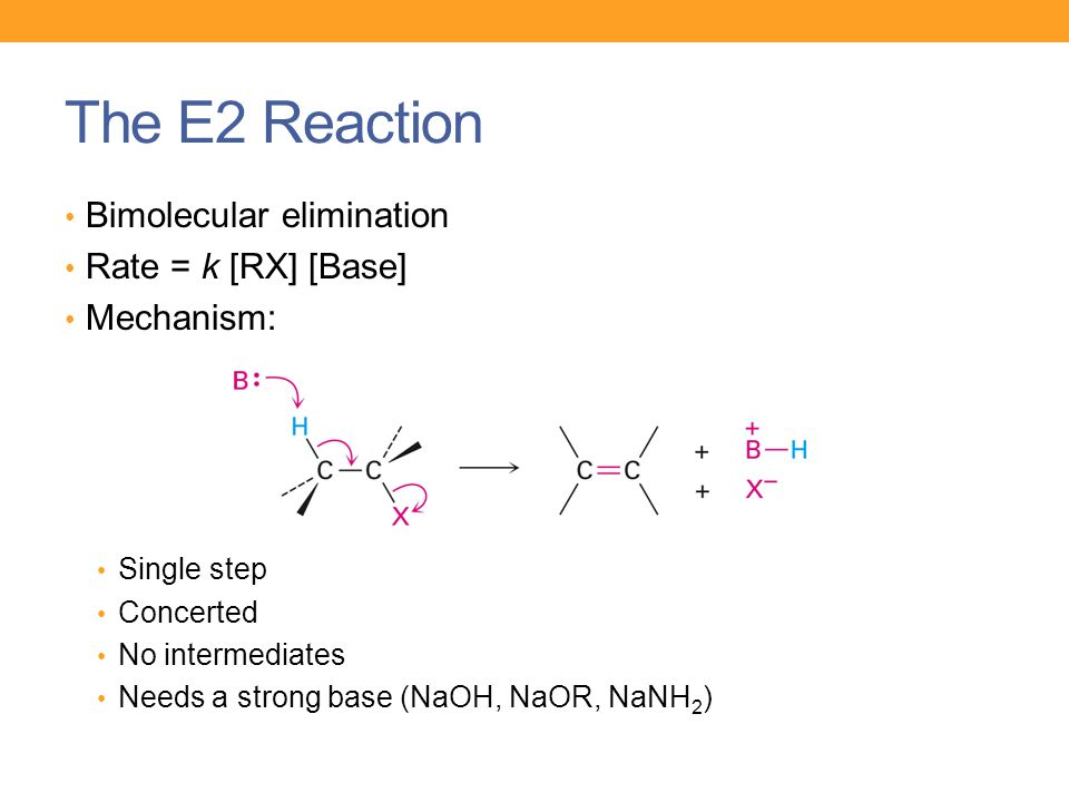 The E2 Reaction Bimolecular elimination Rate = k [RX] [Base]